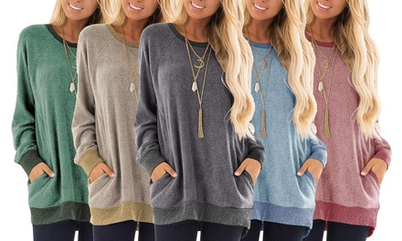 groupon.com - Haute Edition Women's Ultra Soft long sleeve Pullover Sweatshirt