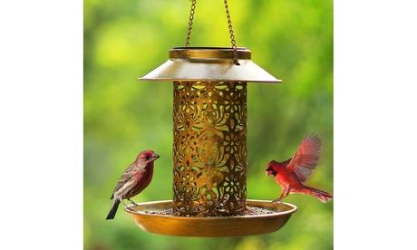 Wild Bird Feeder with LED Solar Light Metal Hanging Lantern for Outdoor Garden (Goods For The Home Patio & Garden Bird Feeders & Food) photo