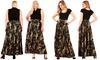 Camo Print, High Waist A-line, Waistband Maxi Skirt With Waist Tie Belt