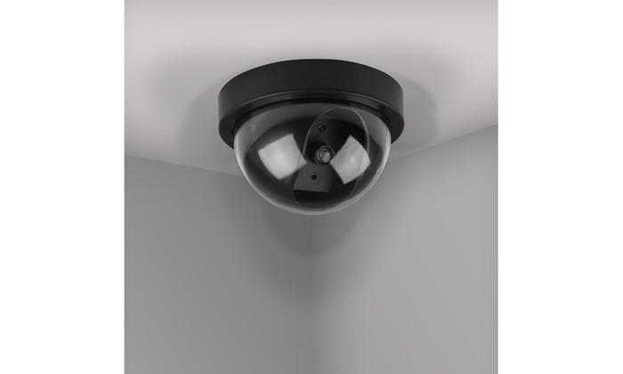 Ceiling or Wall Mounted 4 x Dummy CCTV Dome Cameras with LED Easy to install