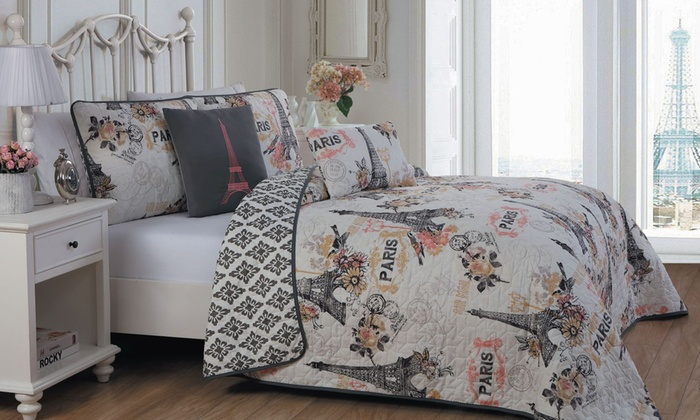 Up To 81 Off On Paris Themed Printed Bedding Set Groupon Goods