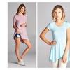 Women's Asymmetric Hem Short Sleeve Tunic Top - Mint & Mauve