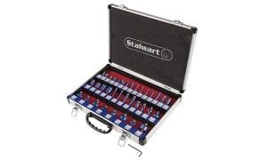 "Router Bit Set- 15 or 35 Piece Kit with 1/4"" Shank and Storage Case by Stalwart"