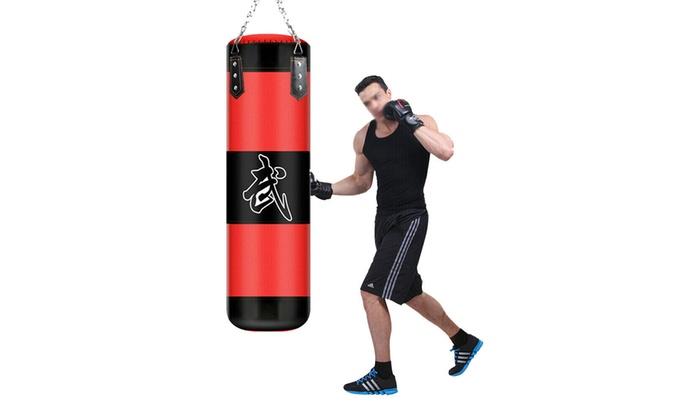 "Empty 39/""//100cm Thai MMA Boxing Heavy Punching Bag w// Chain Sandbags Practice"