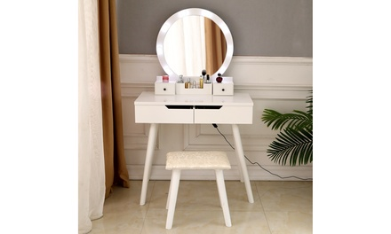 Vanity Dressing Table Set with Lighted Makeup Mirror, Bedroom Vanities Tables