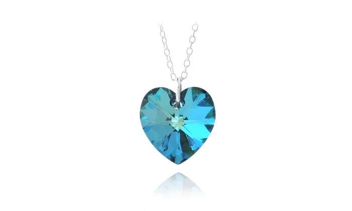 Bermuda blue heart pendant necklace in sterling silver made w bermuda blue heart pendant necklace in sterling silver made w swarovski crystal aloadofball Images