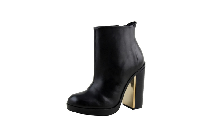 6c834e5a5d6a7 Celebrity NYC Women s Genuine Leather Chunky Heel Ankle Length Boots ...