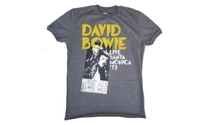 ce35ed53 Amplified Vintage Men T-Shirt Gray David Bowie Live Santa Monica 72 ...