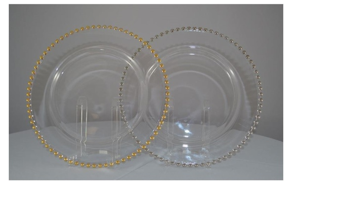 Gold Beaded Edge Clear Glass Chargers Plates 13\