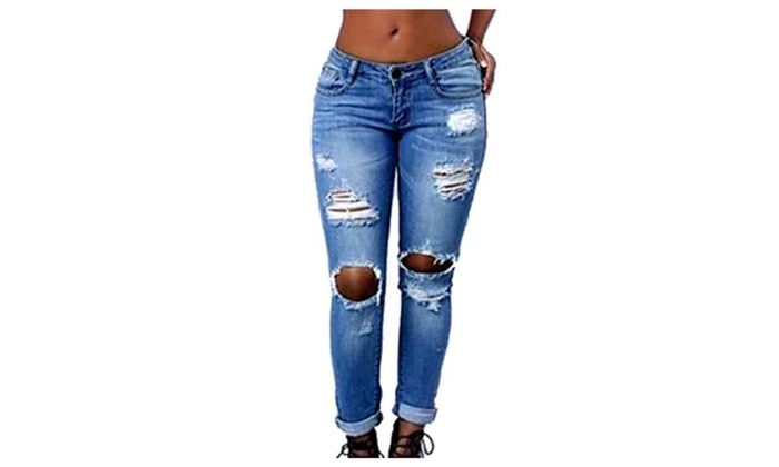 Women's Ladies Low Rise ZipUpwithButtonClosure Ripped Long Jeans