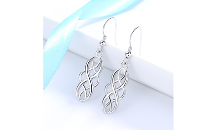 Sterling Silver Open Celtic-Design Drop Earrings
