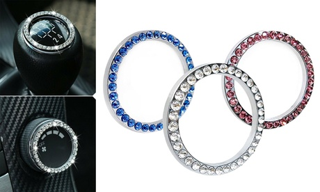 2Pcs Crystal Car Bling Rings Emblem Rhinestone Ignition Button Decal Decor