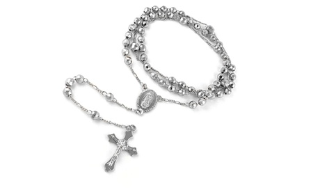 18k White Gold Plated Diamond Cut Rosary Necklace 1c620587-1891-4ab9-a100-f203b9a8e52b