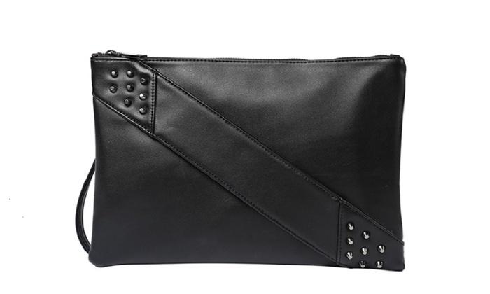 8b905321e6 Black Leather Clutch Purse Crossbody Bag Studded Arm Handle Strap