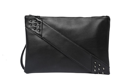 Black Leather Clutch Purse Crossbody Bag Studded Arm Handle Strap (Goods Women's Fashion Accessories Handbags) photo