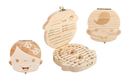 Wooden Keepsake Tooth Box For Baby Boy & Girl