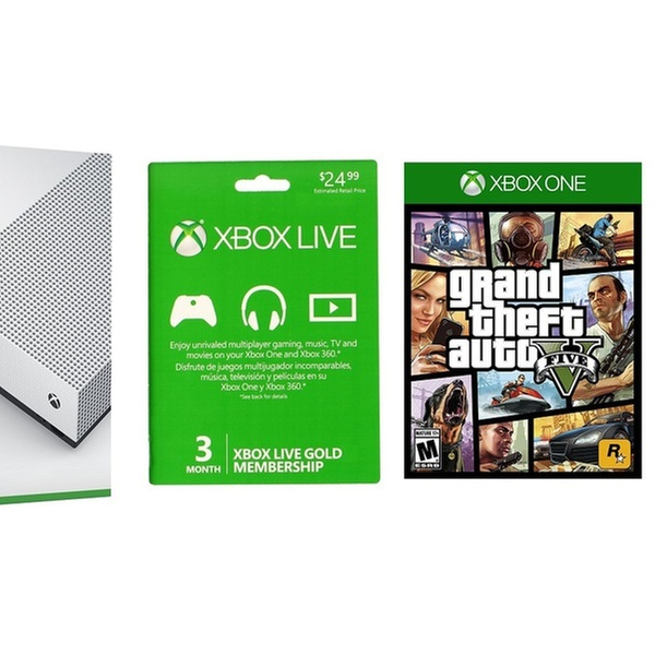Xbox One S 1TB Console with GTA V and 3-Month Gold Membership