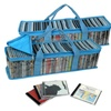 Delete-Evelots Set of 2 CD Storage Bags Each Holds 45 CDS, Blue Stripe