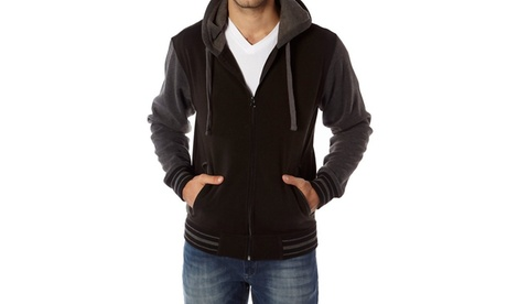 Vertical sport men's Two tone full zip fleeced hoodie 406c541d-dd35-43cd-a77e-a44dd980e473