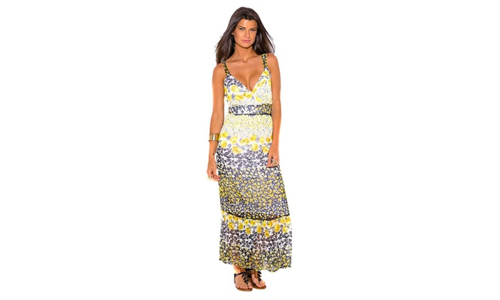 Turning Point Plus Size Boho Chic V-Neckline Yellow Floral Maxi ...