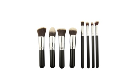 BESTOPE® Premium Synthetic Kabuki Makeup Brush Set (8pcs, Silver Black)
