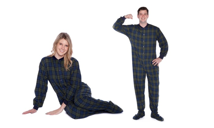 bf6231159 Adult Onesie Footed Pajamas Unisex Green   Navy Plaid Flannel