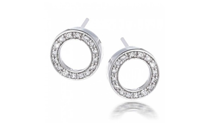 Bling Jewelry Sterling Silver Pave Clear Cz Open Circle Stud Earrings