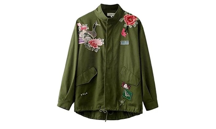 Women Army Green Rose Embroidered Militray Studded Parka Jacket