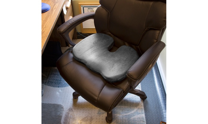 Bluestone Contoured Memory Foam Coccyx Seat Cushion With Plush Cover ...