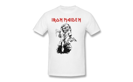 Men's Iron Maiden T-shirt Trooper Tee British Flag 04 T-shirt White 20580159-b668-467d-8368-f402c38017d0