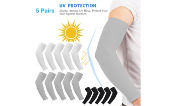 5 Pairs Cooling Arm Sleeves Cover Basketball Golf Sport UV Sun Protection Men
