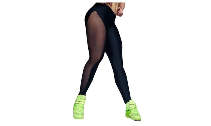 Women's Mesh Stretchy Workout Sportys Yoga Leggings Pants