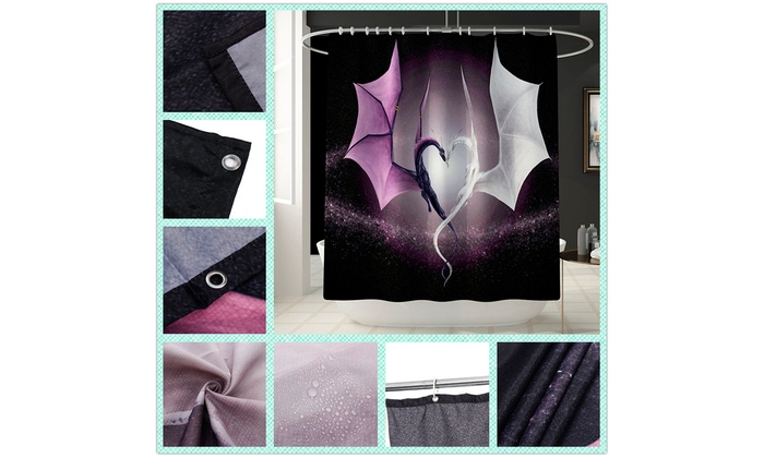 Animated Two-dragon Bathroom Shower Curtain Waterproof Mat Rug Set Toilet Decor