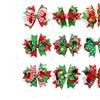 9Pcs Girl Christmas Grosgrain Ribbon Hair Clips Bow Hairpins