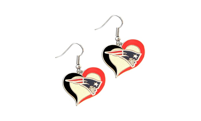 NFL Sports Team Swirl Heart Shape Dangle Logo Earring Set Charm Gift