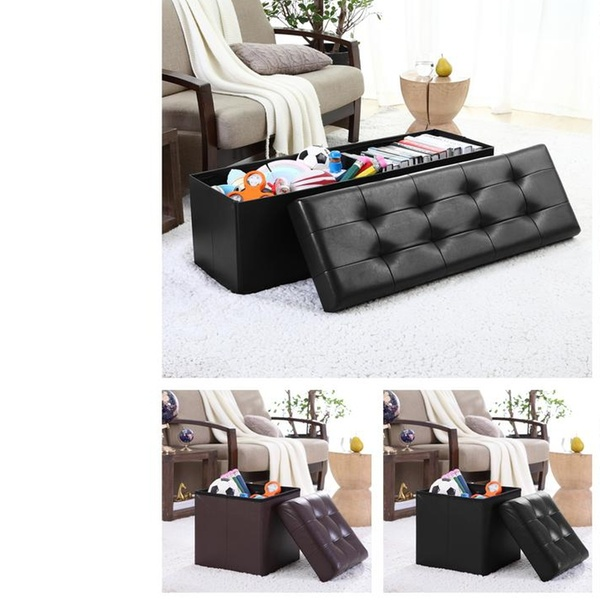 Superb Foldable Tufted Faux Leather Large Bench Storage Ottoman Dailytribune Chair Design For Home Dailytribuneorg
