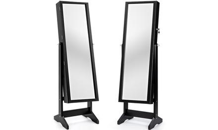 Costway Jewelry Cabinet Stand Mirror Armoire Lockable Organizer Storage Box