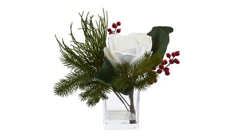 Nearly Natural Magnolia & Berries Artificial Arrangement in Vase d5dbd8f3-3858-4c7d-a4c1-758fce7638c3