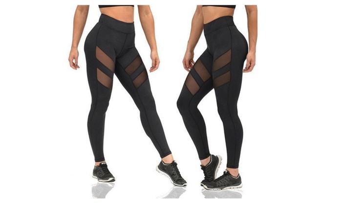 Women's Mesh Stretchy Workout Sports Gym Yoga Leggings Ninth Pant