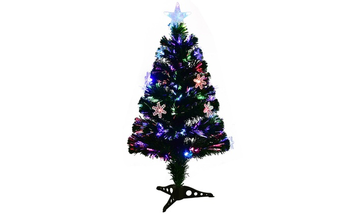 3ft pre lit fiber optic artificial christmas tree wmulticolor lights - 3 Ft Pre Lit Christmas Tree