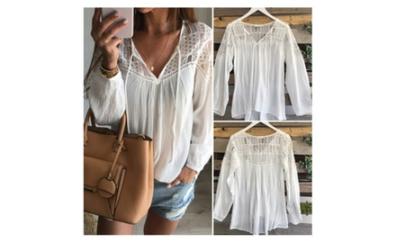 Lace Tops Tee Long Sleeve Shirt