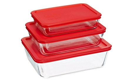 Simply Store Glass Rectangular Food Container Set with Red Lids