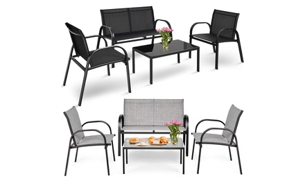 Costway 4 PCS Patio Furniture Set Sofa Coffee Table Steel Frame Garden Deck