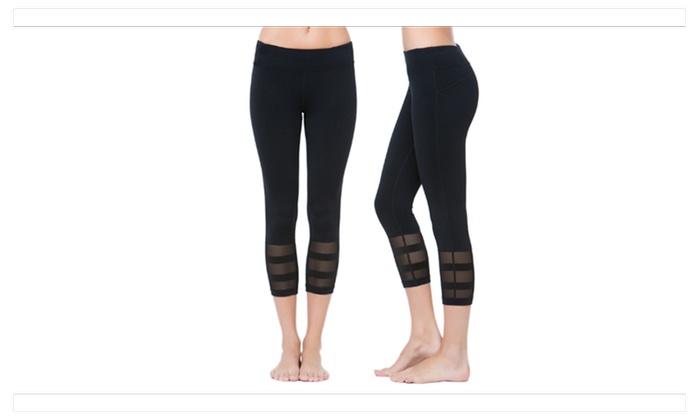 Womens Running Yoga Pants 3/4 Mesh Patchwork Workout Leggings
