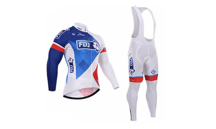FDJ Cycling Long Sleeve Jersey Cycling Clothing Bike Jersey