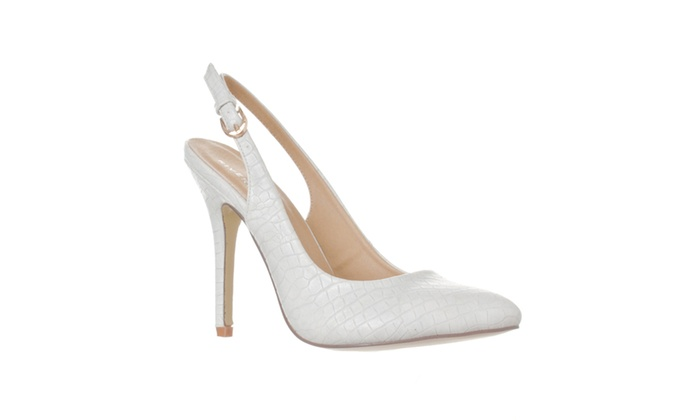 Riverberry 'Lucy' Pointed-Toe Sling Back Pump Heels, Grey Croc