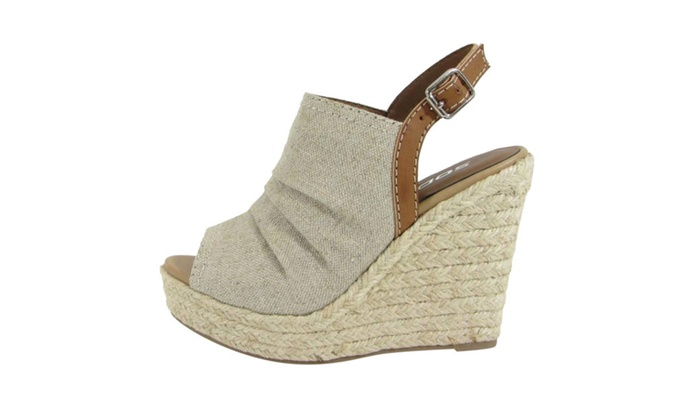 Beston ID06 Women Buckle Ankle Strap Espadrille Platform Wedge Sandal