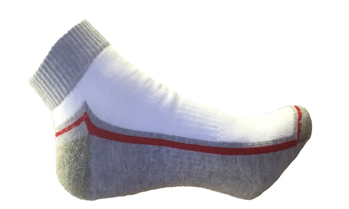 6 Pair Ankle socks white with gray and Red accent Size : 10-13.