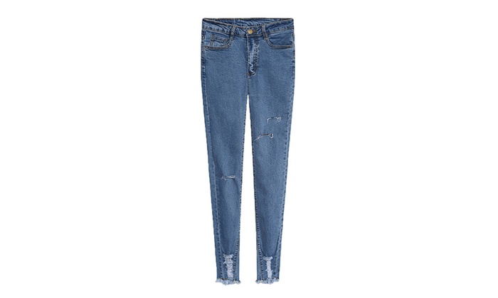 Women's Ripped Commuting Equipment Mid Rise Solid Jeans