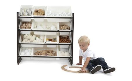 Tot Tutors Kids' Toy Storage Organizer with 12 Plastic Bins, Espresso 5bf7b48a-16fc-428d-aafd-1ca8f5340af3
